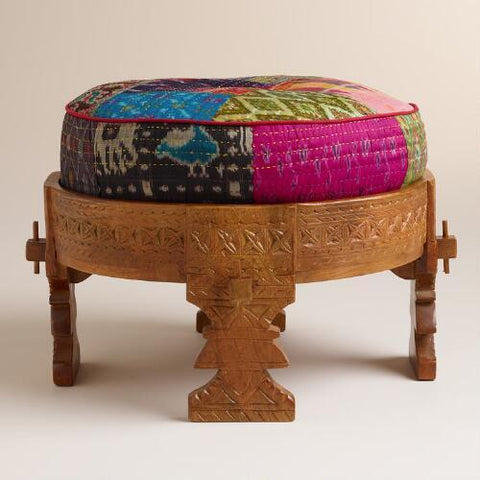 Moroccan Boho Wooden Stool with Silk Pouf Pillow Ottoman-GoGetGlam