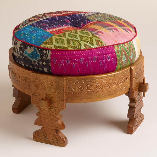 Moroccan Boho Wooden Stool with Silk Pouf Pillow Ottoman - GoGetGlam Boho Style