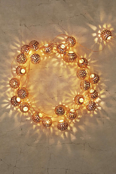 Moroccan Lantern Ball Set of 40 LED String Light Ornaments-GoGetGlam