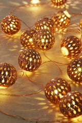 Moroccan Lantern Ball Set of 40 LED String Light Ornaments - GoGetGlam Boho Style