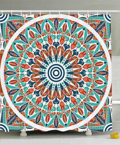 Moroccan Mandala Design Boho Fabric Shower Curtain-GoGetGlam