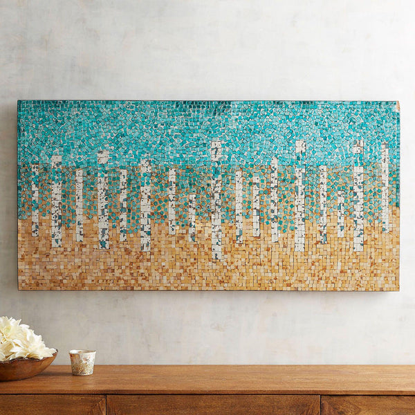 Teal and Gold Mirrored Mosaic Glass Wall Art Panel-GoGetGlam