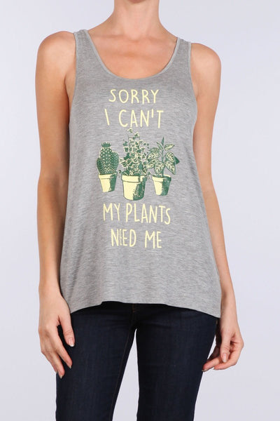 My Plants Need Me Graphic Racerback Tank Top-GoGetGlam