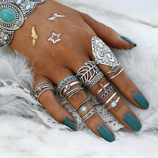 18 PC Ultimate Silver Boho Ring Set