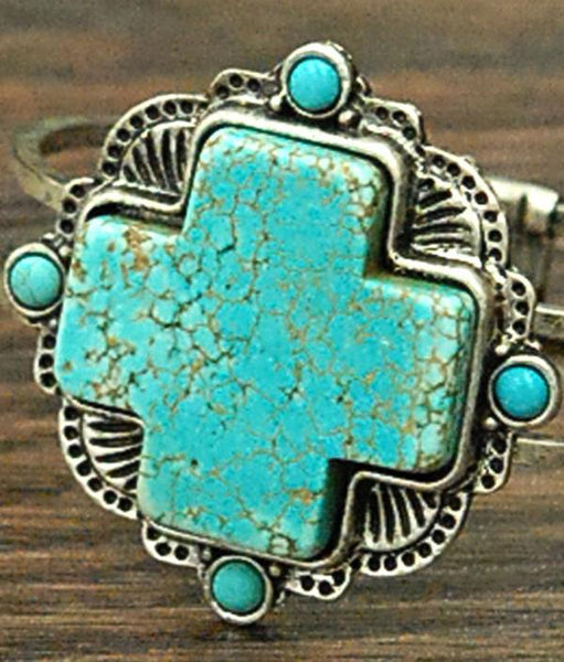 Natural Turquoise Cross Hinged Cuff Bracelet-GoGetGlam