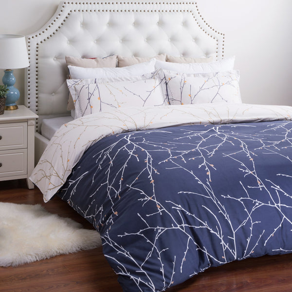 Navy Blue Plum Tree 3PC Duvet Bedding SET-GoGetGlam
