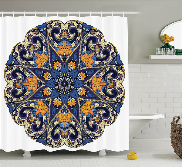 Navy Yellow Bohemian Mandala Fabric Shower Curtain - GoGetGlam Boho Style