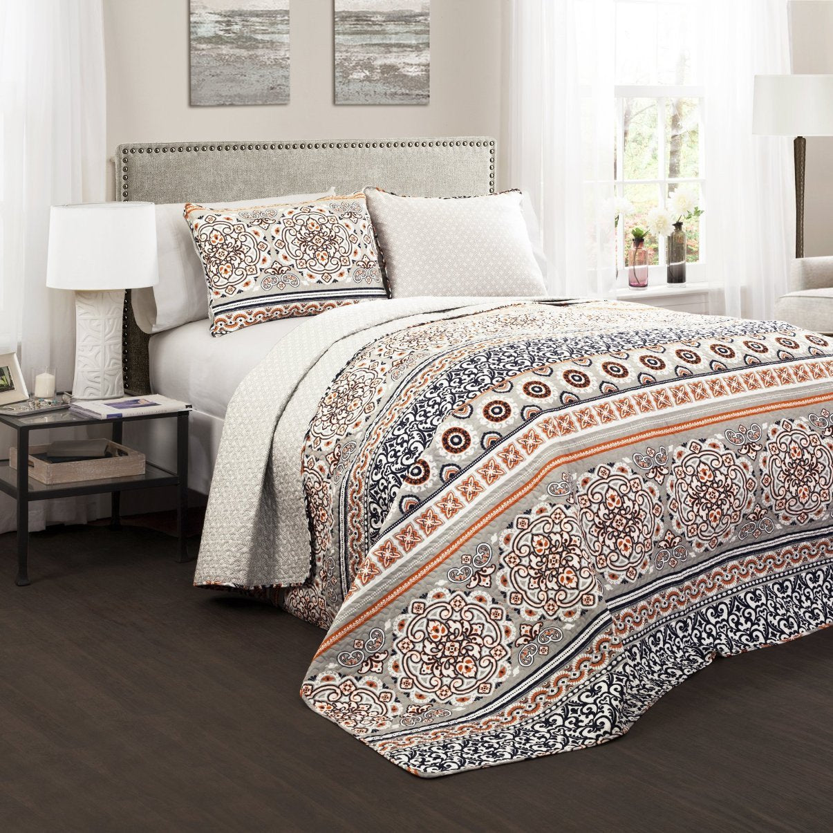 pillows bedding quilted gold inspired zari orange duvet peacock brocade indian and bedspreads set king