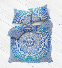NEW Boho Blue Ombre Tapestry Full Duvet Cover SET - Boho Bohemian Decor