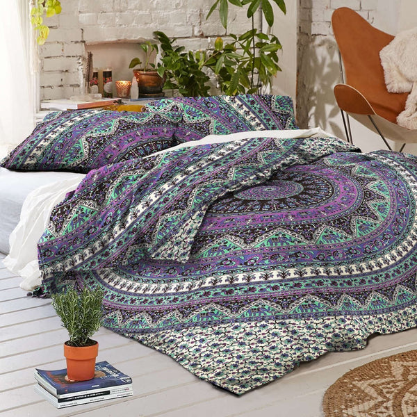 NEW Boho Elephant Caravan Tapestry Full Duvet Cover SET-GoGetGlam