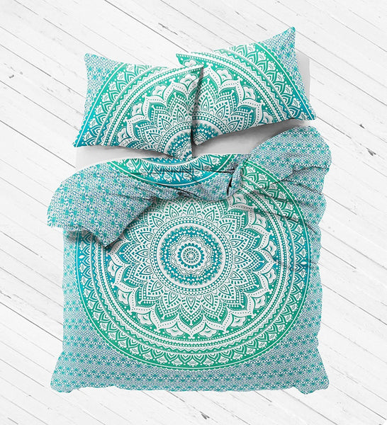 NEW Boho Green Ombre Tapestry Full Duvet Cover SET-GoGetGlam