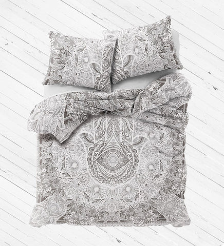 NEW Boho Hippie HAMSA Tapestry Full Duvet Cover SET-GoGetGlam