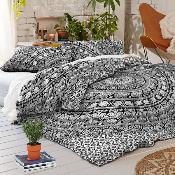 NEW Boho Hippie Mandala Black Tapestry Full Duvet Cover SET-GoGetGlam
