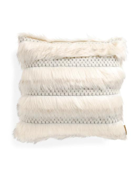 Nicole Miller Faux Fur Feather Fill Throw Pillow-GoGetGlam