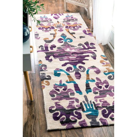 nuLOOM Purple Passion Damask Print Area Rug-GoGetGlam