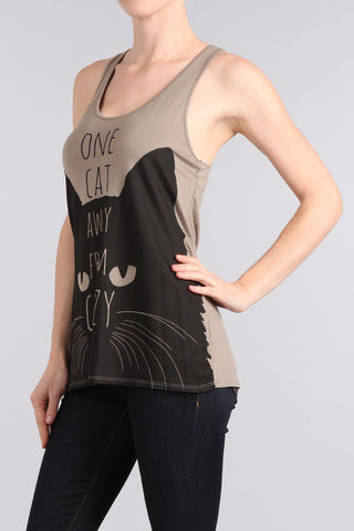ONE CAT AWAY FROM CRAZY Racerback Tank Top-GoGetGlam