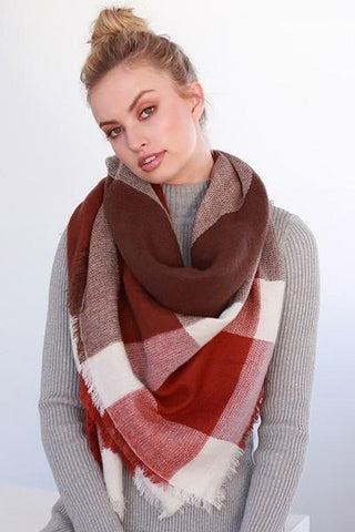 Oversized Burgundy Tone Plaid Throw Scarf-GoGetGlam