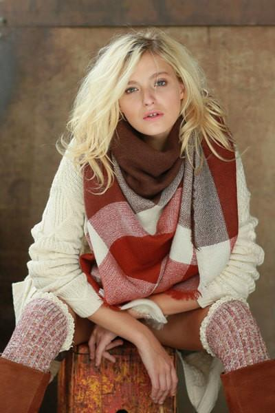 Oversized Burgundy Tone Plaid Throw Scarf - GoGetGlam Boho Style