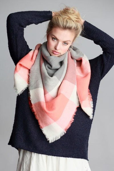 Oversized Pink Tone Plaid Throw Scarf - GoGetGlam Boho Style