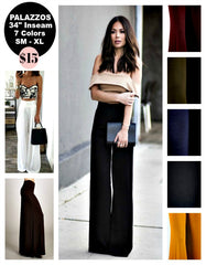 Basic Solid Stretch Knit Palazzo Pants in 7 Colors - Boho Bohemian Decor
