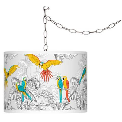 Parrots Giclee Shade Plug-In Swag Pendant Chandelier - GoGetGlam Boho Style