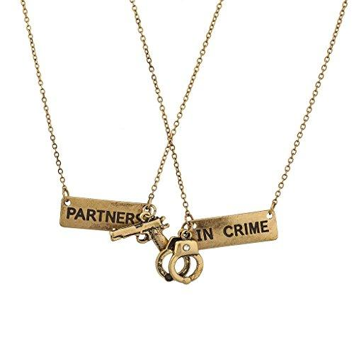 Partners in Crime BFF Best Friends 2 PC Chain Charm Necklace SET-GoGetGlam