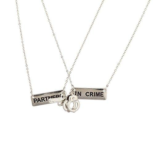 Partners in Crime BFF Best Friends 2 PC Chain Charm Necklace SET - GoGetGlam Boho Style
