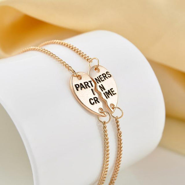 Partners in Crime BFF Friends 2 PC Charm Bracelet SET-GoGetGlam