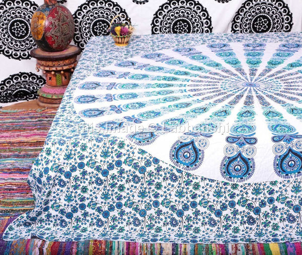 Peacock Boho Mandala Bohemian Indian Bedspread Magical Thinking Tapestry-GoGetGlam