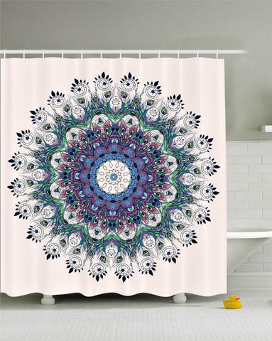 Peacock Feather Mandala Boho Fabric Shower Curtain - GoGetGlam Boho Style