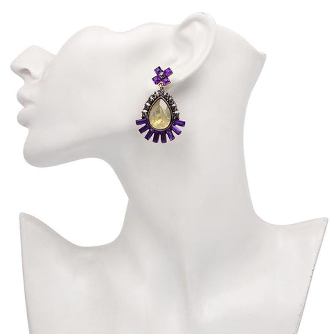 Penelope Purple Statement Earrings-GoGetGlam