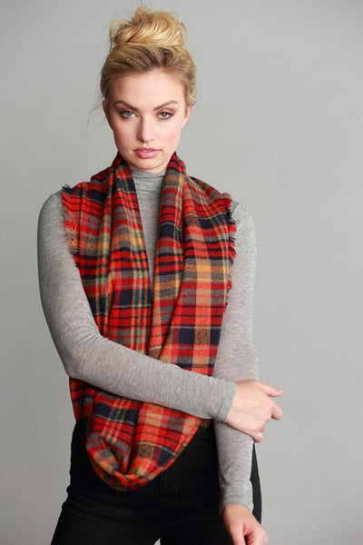 Penelope Red Plaid Pattern Frayed Edge Infinity Scarf - GoGetGlam Boho Style