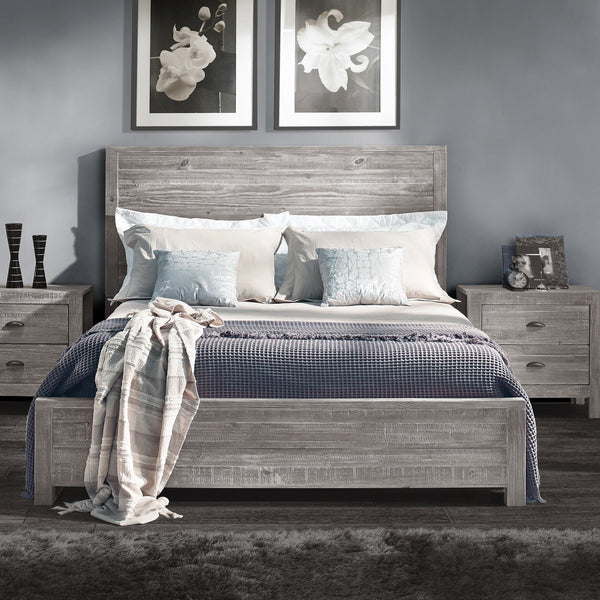 Peyton Solid Eco-Friendly Pine Wood Panel Bed-GoGetGlam