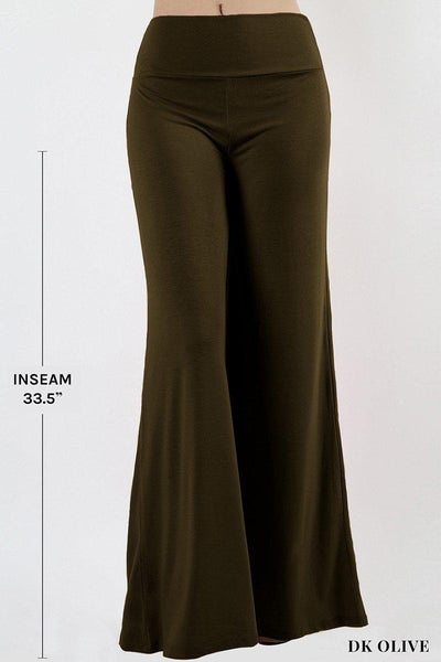 Basic Solid Stretch Knit Palazzo Pants in 7 Colors-GoGetGlam