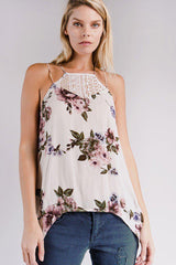 Amie Ruffle Floral Halter Top-GoGetGlam