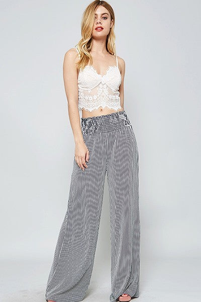 Striped Elastic Waist Palazzo Pants - Boho Bohemian Decor