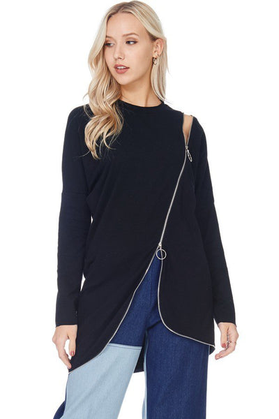 Zoe Asymmetrical Zipper Tunic Top-GoGetGlam