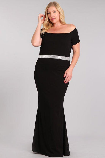 Plus Size Black Embellished Waist Maxi Dress - Boho Bohemian Decor