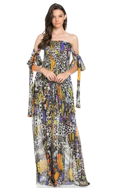 Jenna Strapless Butterfly Maxi Dress-GoGetGlam