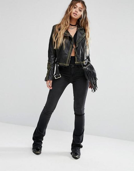 Free People Bang Bang Vegan Leather Jacket - GoGetGlam Boho Style