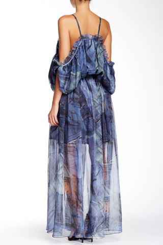 Bohemian Princess Chiffon Denim Maxi Dress-GoGetGlam