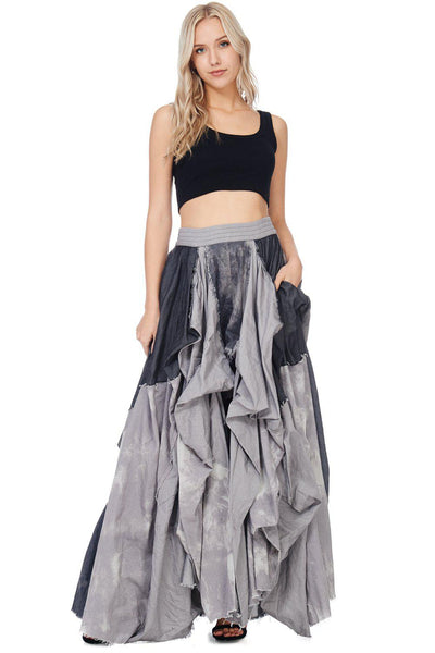 Black Denim Damsel Maxi Skirt-GoGetGlam