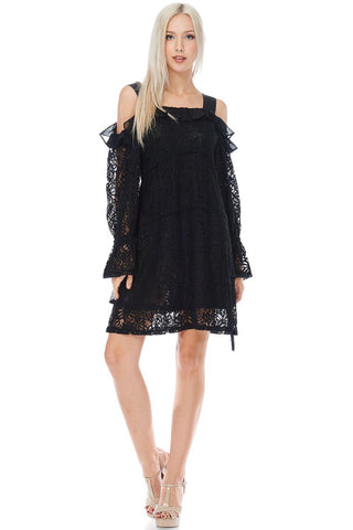 The Lola Black Lace Mini Dress-GoGetGlam