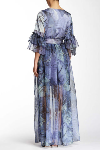 Bohemian Princess Chiffon Denim Tie Maxi Dress-GoGetGlam