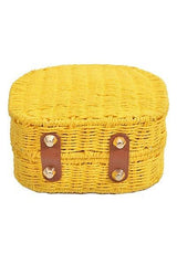Pineapple Bamboo Wicker & Fabric Clutch Crossbody Handbag-GoGetGlam