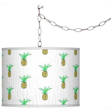 Pineapple Giclee Shade Plug-In Swag Pendant Chandelier-GoGetGlam