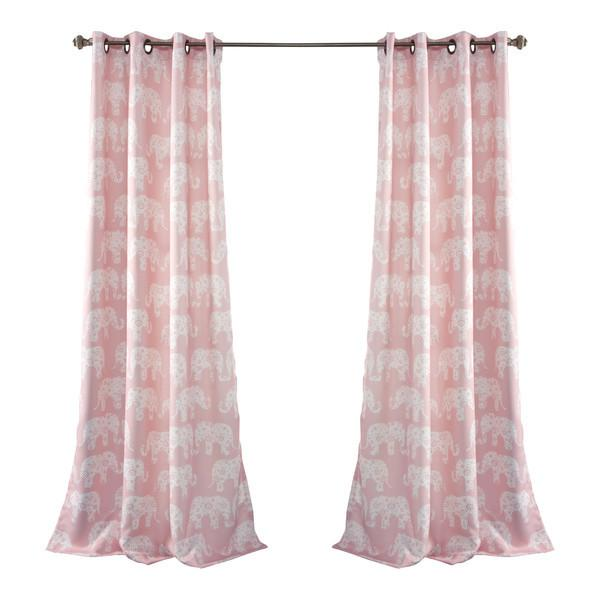 Pink Elephant Parade Room Darkening 84-Inch Curtain Panel Pair - Boho Bohemian Decor