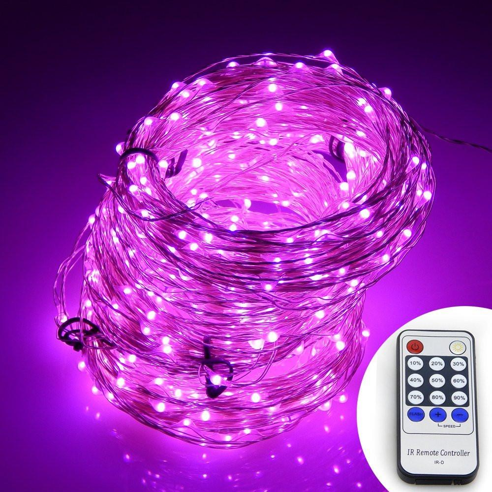 Pink Firefly Fairy String LED Plug In Lights with Remote - Boho Bohemian Decor