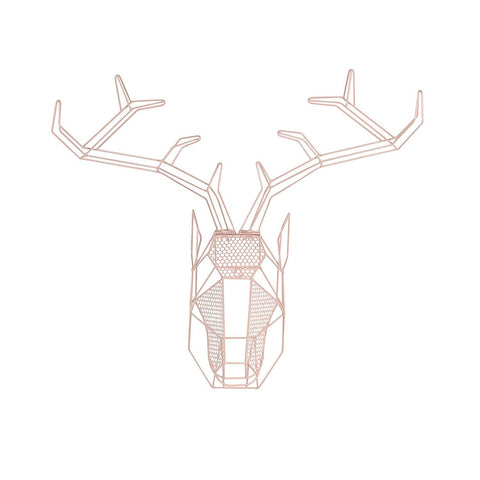 Pink Geometric Hanging Deer Head Metal Wall Art - Boho Bohemian Decor