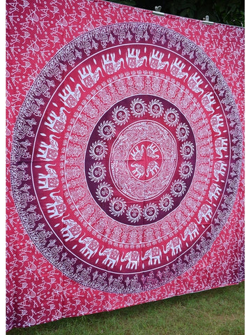 Pink Red Elephant Mandala Bohemian Yoga Beach Wall Boho Tapestry - Boho Bohemian Decor